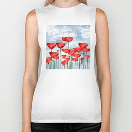 Mouse and poppies on a cloudy day Biker Tank