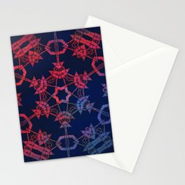 Blue and red glow tribal mandala Stationery Cards