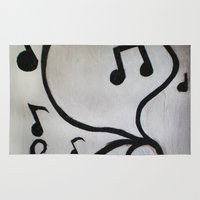 music notes Area & Throw Rugs featuring Music Notes by S. Vaeth