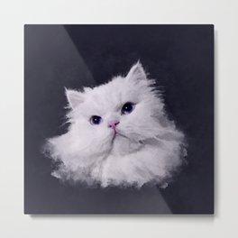 Shiny - the white Persian cat Metal Print