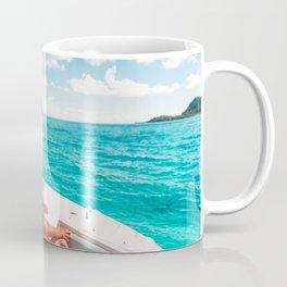 Luxury yacht vacation elegant summer bikini woman Coffee Mug