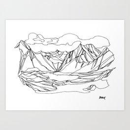 Kootenay Alpine Lakes :: Single Line Art Print