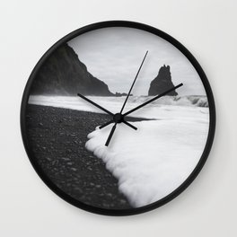 Lava Pillars at Black Sand Beach Wall Clock
