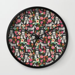 Schnauzer floral must have dog breed gifts for schnauzers owners florals Wall Clock