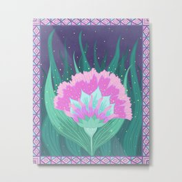 Decorative Border Magic Night Flower Metal Print