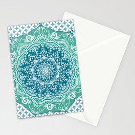 Blue Green Lotus Mandala Stationery Cards