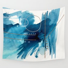 Beneath the Waves Series 2 - a blue and gold abstract mixed media set Wall Tapestry