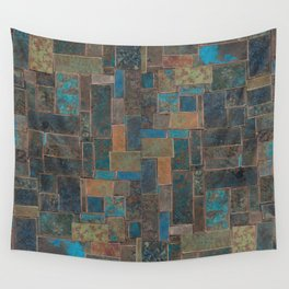 Blue Patina Patchwork 1 Wall Tapestry