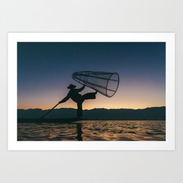Burmese Fisherman Art Print