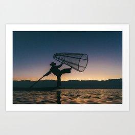 Burmese Fisherman Art Print