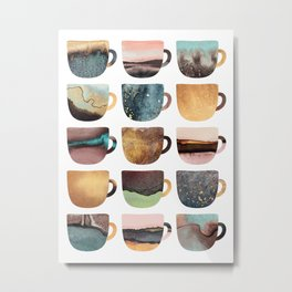 Earthy Coffee Cups Metal Print