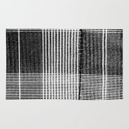 Stitched Plaid in Black and White Rug