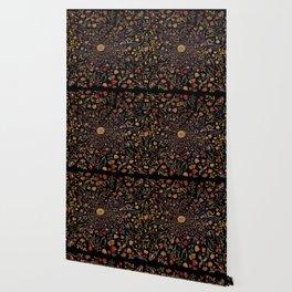 Medieval Flowers on Black Wallpaper