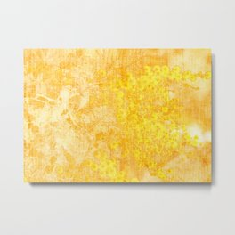 yellow mimosa pattern Metal Print