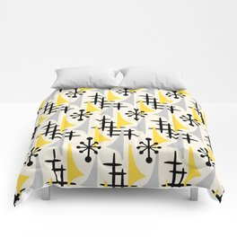 Mid Century Modern Atomic Wing Composition Yellow & Grey Comforters