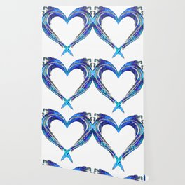 Romantic Abstract Heart Art - Big Blue Love - Sharon Cummings Wallpaper