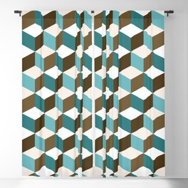 Cubes Pattern Teals Browns Cream White Blackout Curtain