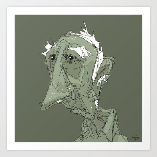 Old Man in Green Art Print