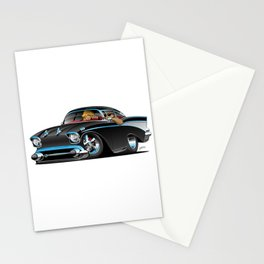 Classic hot rod fifties muscle car with cool couple cartoon Stationery Cards