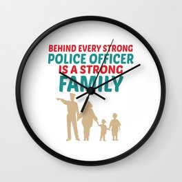 Strong Police Family Design Wall Clock