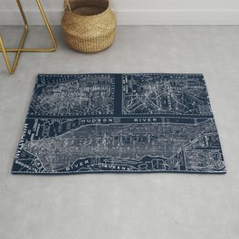 Vintage New York City Street Map Rug