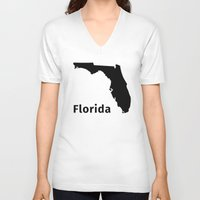florida V-neck T-shirts featuring Florida by Fabian Bross