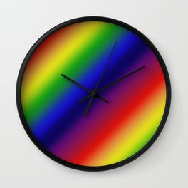 Diagonal Dark Rainbow Gradient Wall Clock