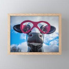 Roadside Fiberglass Cow with Pink Sunglasses Framed Mini Art Print