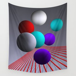 converging lines and balls -2- Wall Tapestry