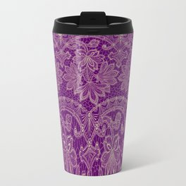 lace border stretched in purple Metal Travel Mug