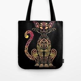 Tribal Cat on Back Tote Bag