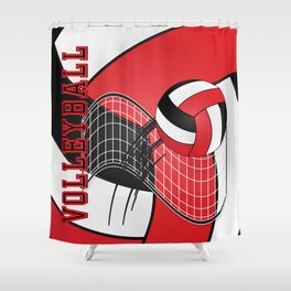 Volleyball Game  - Red Shower Curtain