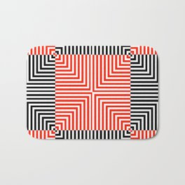 Optical illusion with red and black stripes Bath Mat