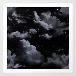 Night Sky with Clouds Art Print