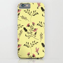 Rose Hummingbirds and Pink Flowers in Butter Yellow Floral Pattern with Pink Flowers and Bark Brown iPhone Case