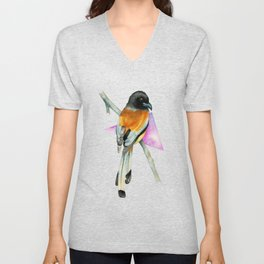 Oriole Bird with Abstract Geometric Watercolor Painting Unisex V-Neck