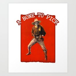 Vintage Skeleton Cowboy Artwork Art Print