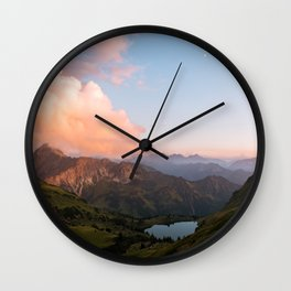Mountain lake in Germany with Moon - landscape photography Wall Clock