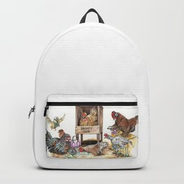 """Life in the Coop"" funny chicken watercolor Backpack"