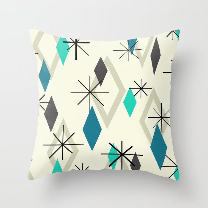 Mid Century Modern Diamonds Throw Pillow