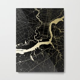 Philadelphia - Black and Gold Metal Print