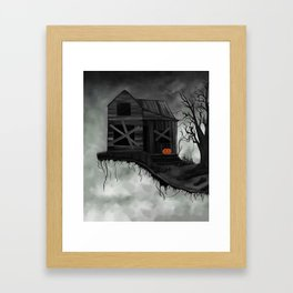 Haunted House and Jolly Pumpkin Framed Art Print