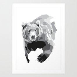 Geometric Bear on White Art Print