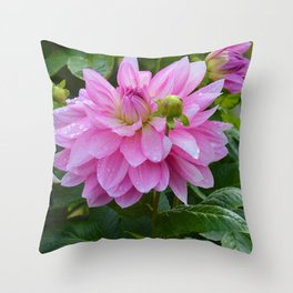 Fresh Rain Drops - Pink Dahlia Two Throw Pillow