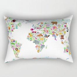 Kids World Map Rectangular Pillow