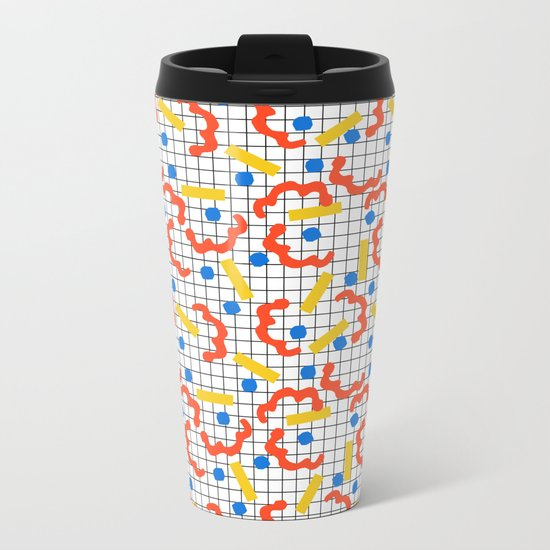 Primal - memphis throwback squiggle circle geometric grid lines dots trendy hipster 80s retro cool Metal Travel Mug