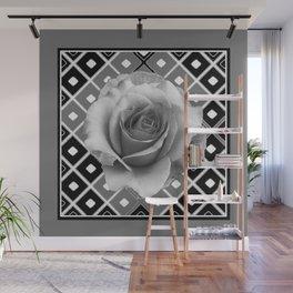 Art Deco White Rose Black-White-Grey Art Wall Mural