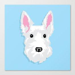White Scottie Dog on Blue Background Canvas Print