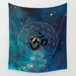 Om & Flower of Life Wall Tapestry