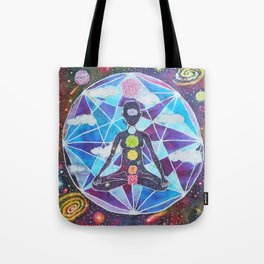 Meditation Chakra Space Tapestry Rainbow Galaxy Psychedelic Painting Art (Intergalactic Beings) Tote Bag